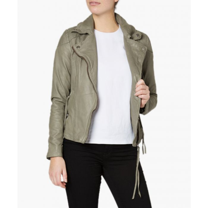 Image for Meggie grey leather biker jacket