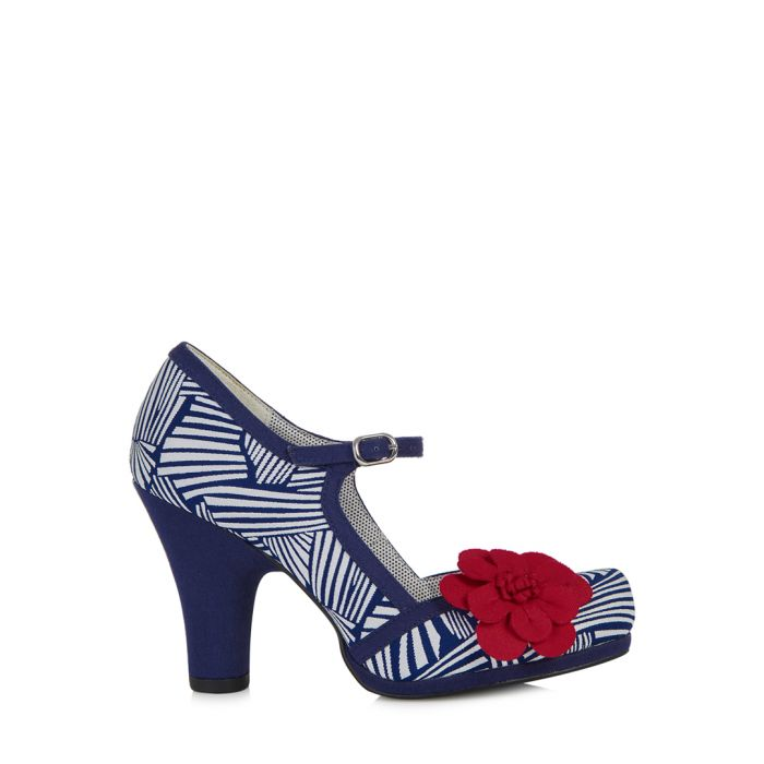 Image for Tanya navy & white flower heels