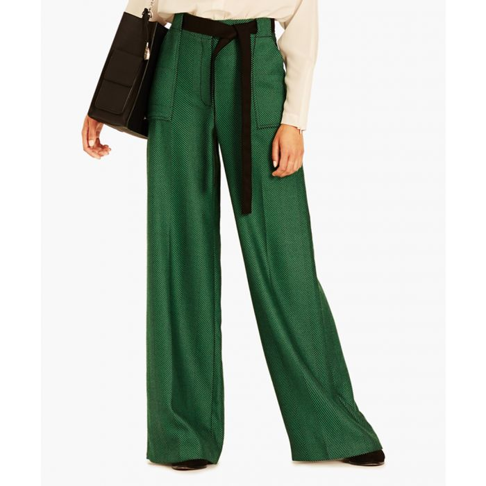 Image for Black & emerald Herringbone trousers
