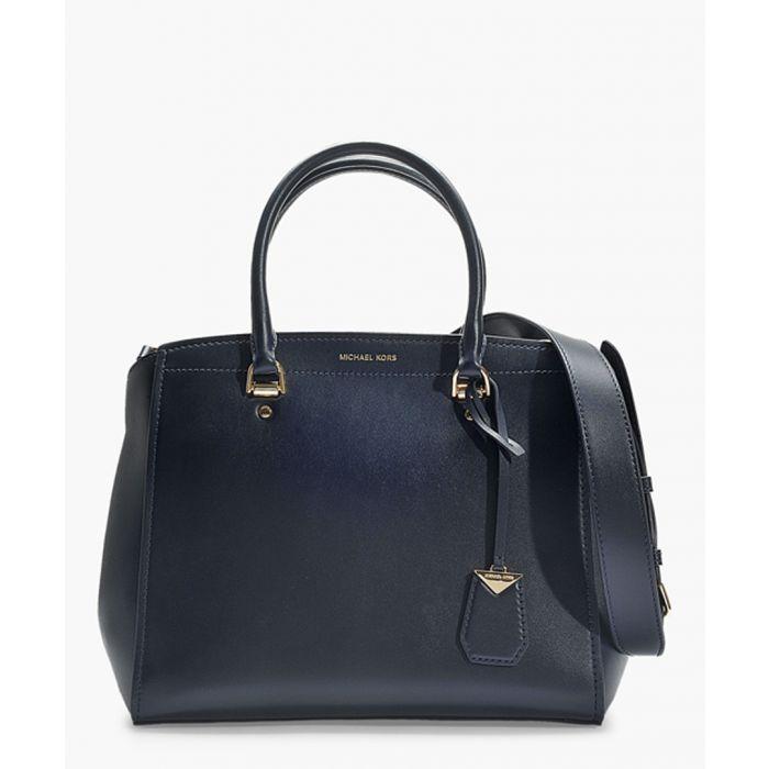 Image for Benning large blue leather satchel