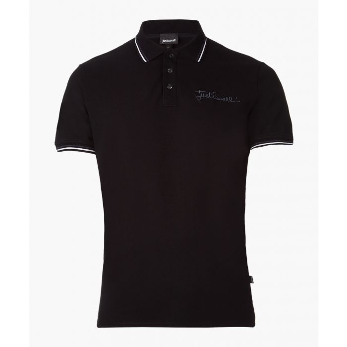 Image for Black embroidered logo polo shirt