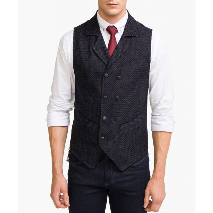 Image for Navy wool blend double breasted waistcoat
