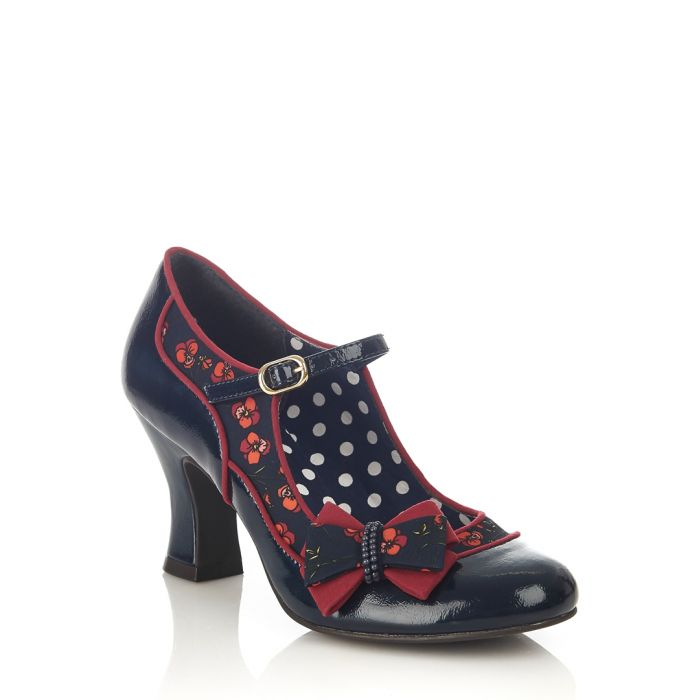 Image for Camilla navy & red bow court heels