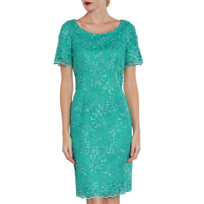 Image for Green embroidered dress