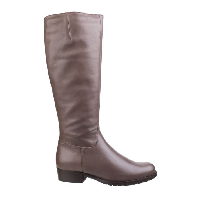 Image for Taupe leather riding boots