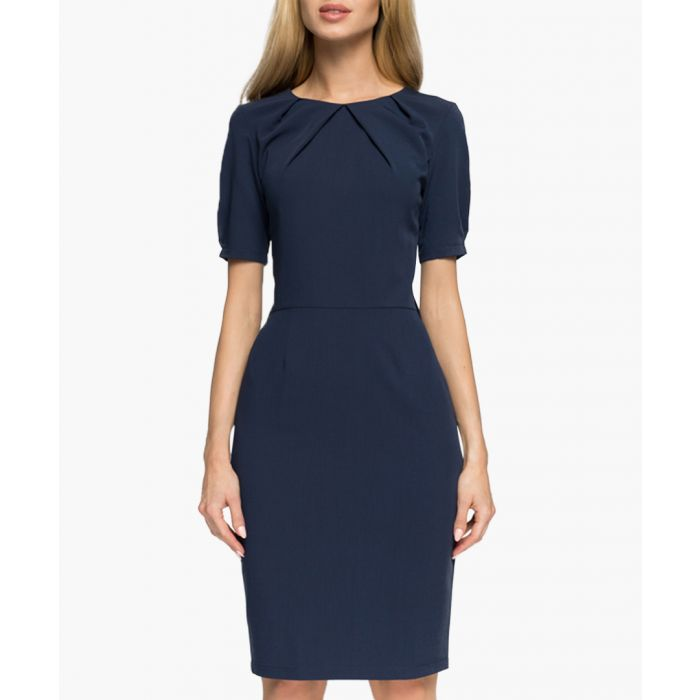 Image for Navy short sleeve knee length dress