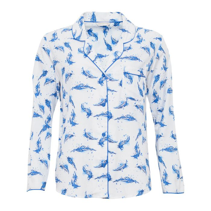 Image for Amelia blue feather cotton-blend pyjama top