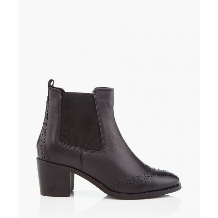 Image for Black brogue heel ankle boots