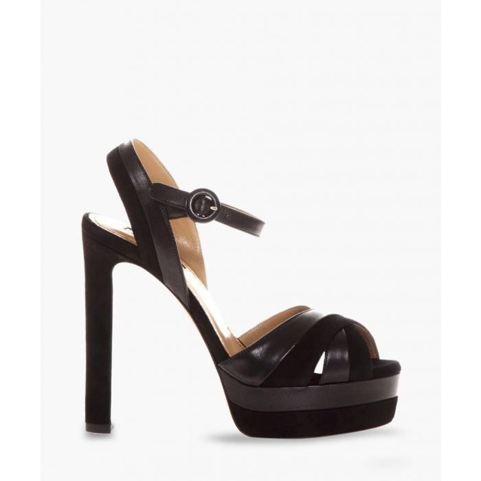 Image for Black platform heeled sandals