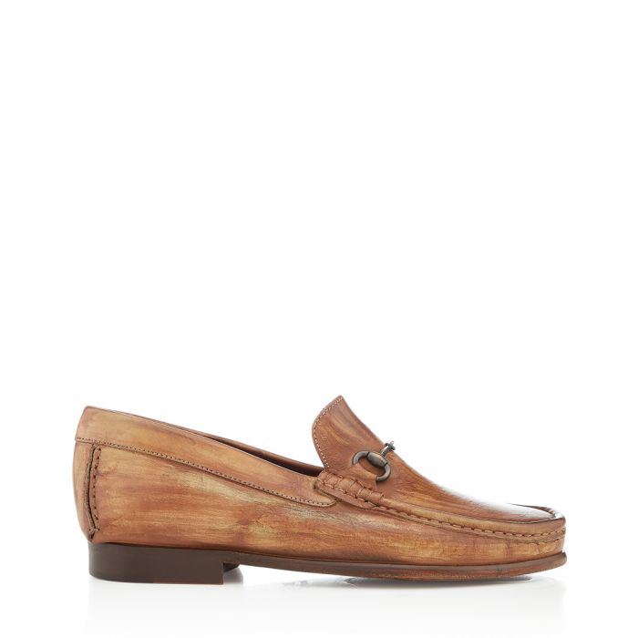 Image for Haliut tan leather horsebit loafers