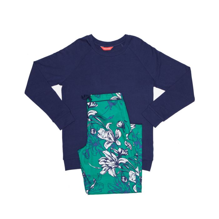 Image for 2pc Rosie navy & emerald floral pyjamas