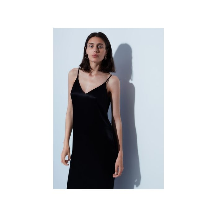 Image for Thayer black satin slip dress