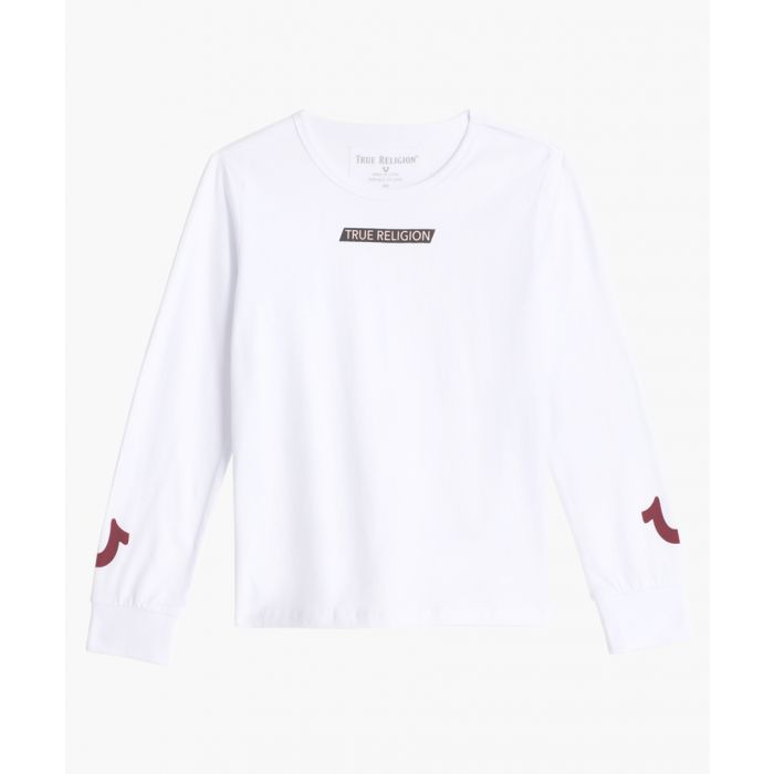 Image for Boys white cotton long sleeve T-shirt