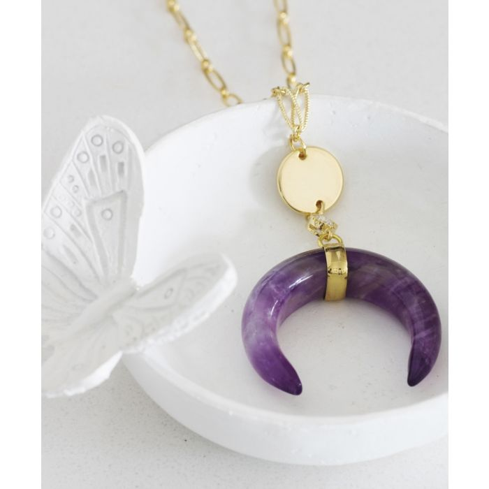 Image for Divine 14k gold-plated and amethyst necklace