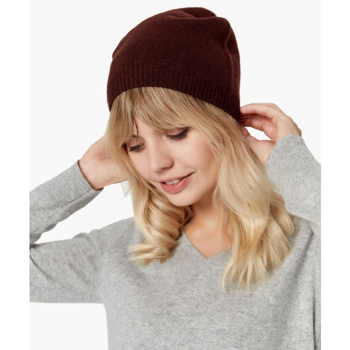 Image for Brown pure cashmere hat