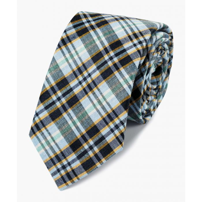 Image for Multi-coloured linen and silk blend check classic tie