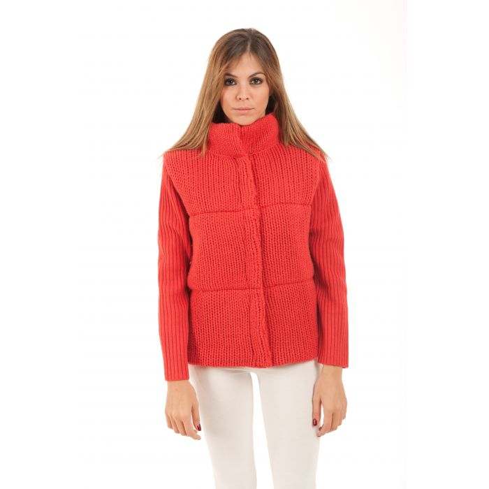 Image for Knit Jacket with Rib Sleeves and Stand Up Collar by Conquista Fashion