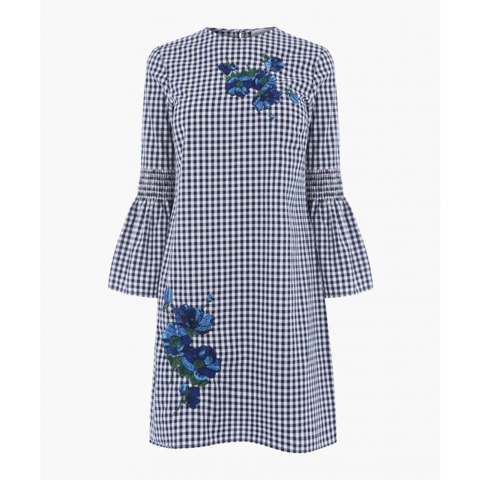 Image for Navy embroidery gingham dress