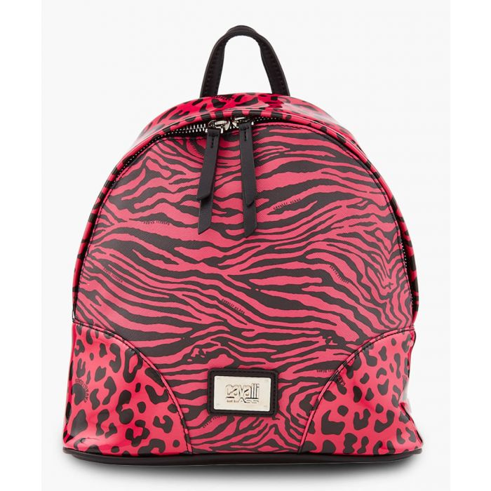 Image for Simone black and fuchsia printed backpack