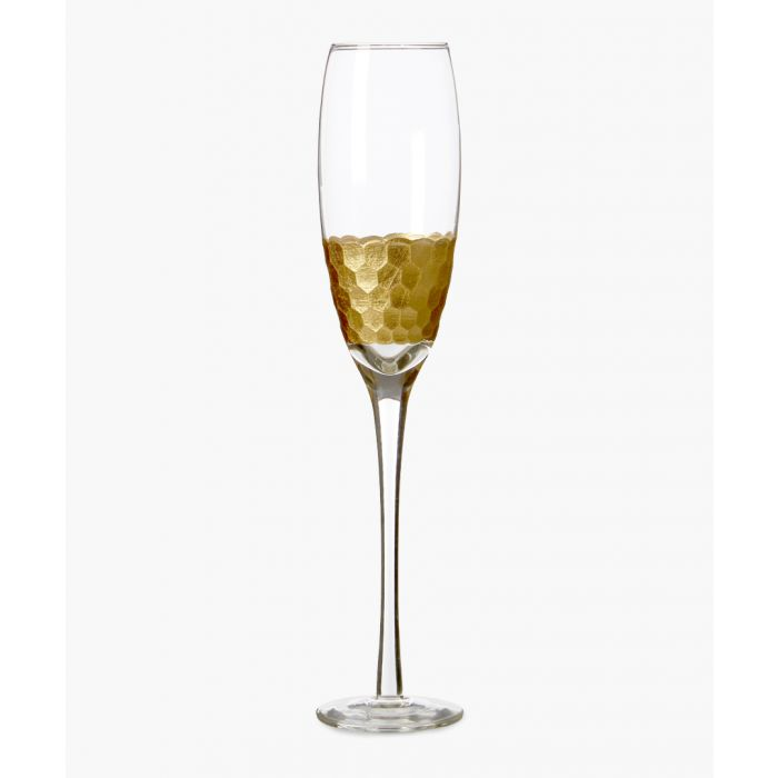 Image for 4pc Astrid gold-tone honeycomb champagne glasses