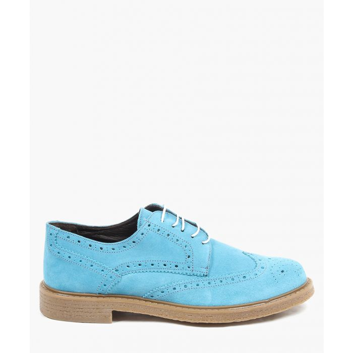 Image for Blue suede perforated brogues