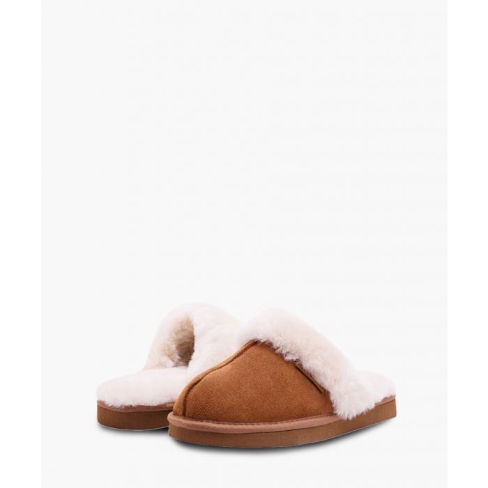 Image for Tan suede sheepskin slippers