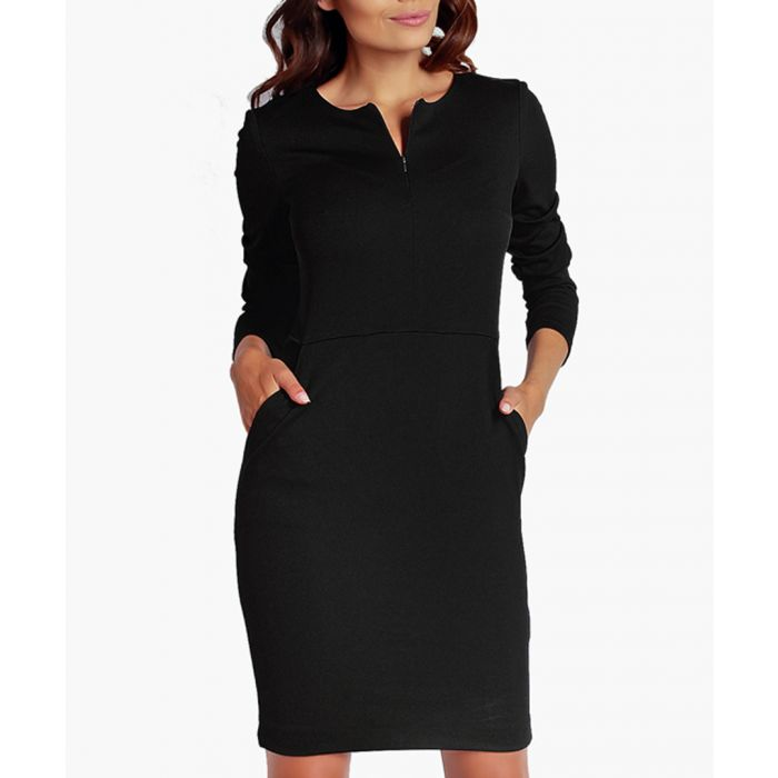 Image for Black invisible zip detail dress