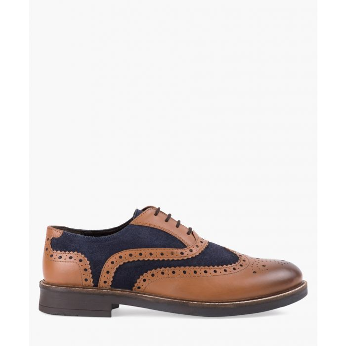 Image for Tan and navy leather suede brogues