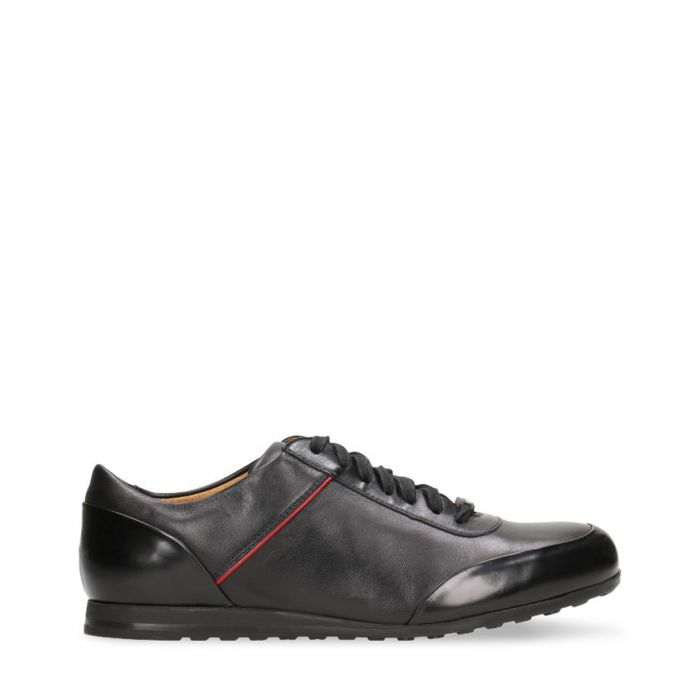 Image for Black leather panelled sneakers