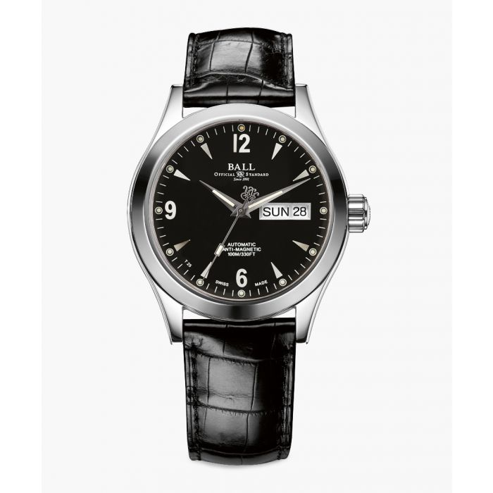 Image for Engineer black leather lit watch
