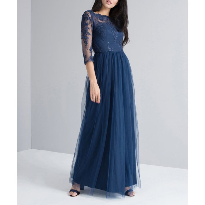 Image for Navy lace sleeve maxi dress