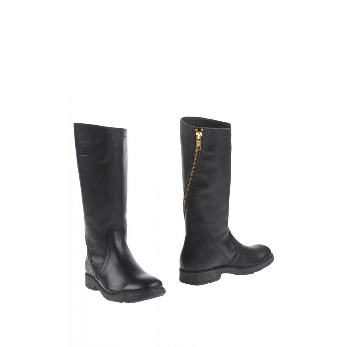 Image for Black round-toe leather boots