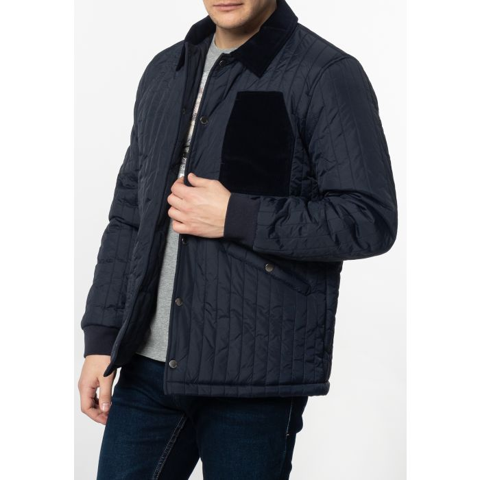 Image for Charter Mens Quilted Coach Jacket with Corduroy Details in Navy