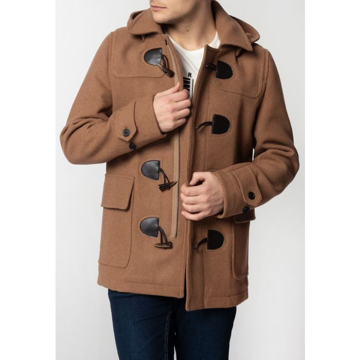 Image for Bonner Mens Short Duffle Coat with Detachable Hood in Tan