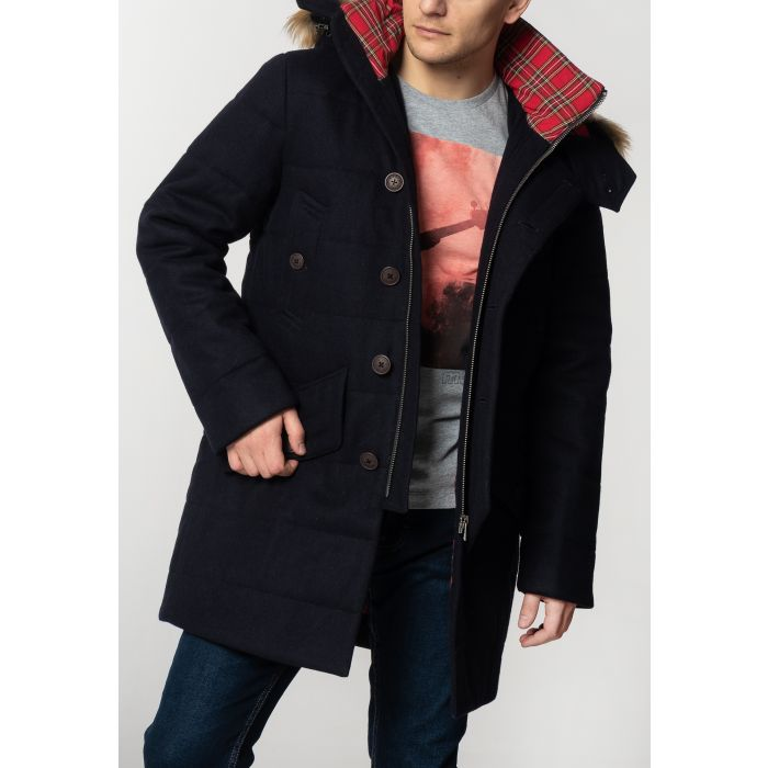 Image for RALEIGH, Men's Padded Wool Parka with Fur Hood in Dark Navy