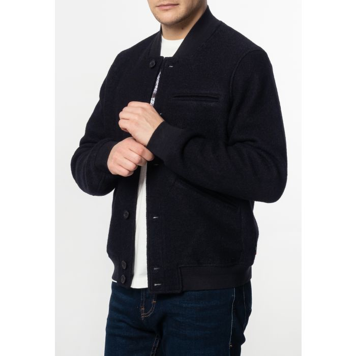 Image for Sherlock Mens Wool Bomber Jacket with Ribbed Hem and Cuffs in Dark Navy