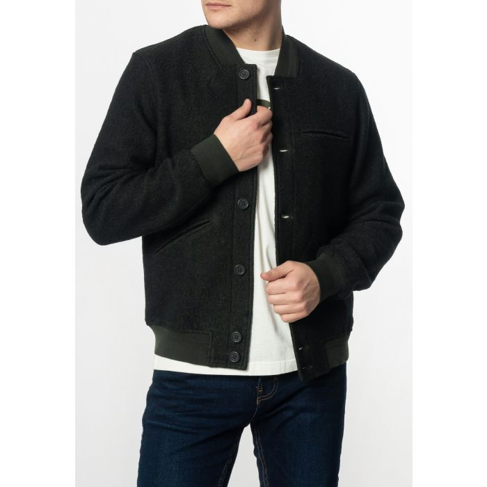 Image for Sherlock Mens Wool Bomber Jacket with Ribbed Hem and Cuffs in Bottle Green