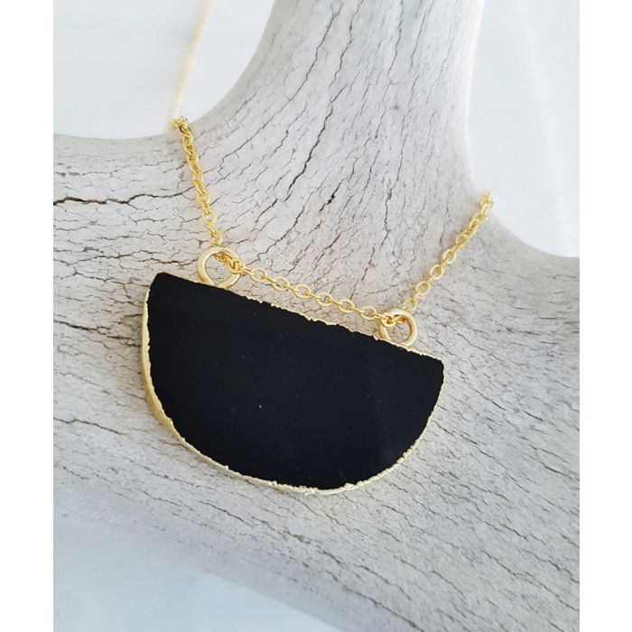 Image for Half Moon 14k gold-plated and black obsidian necklace