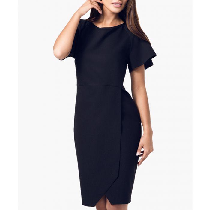 Image for Black cross-over knee length dress