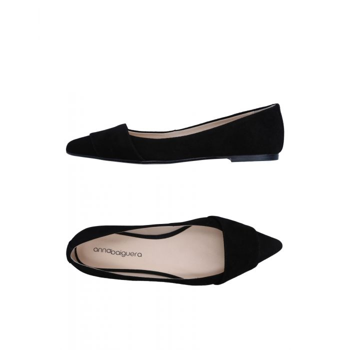 Image for Black pointed-toe suede flats