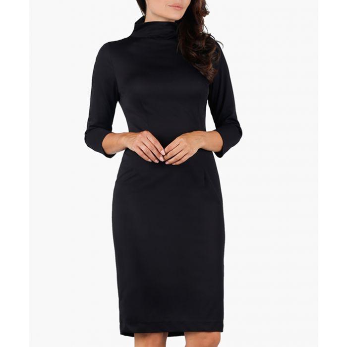 Image for Black high-neck midi dress