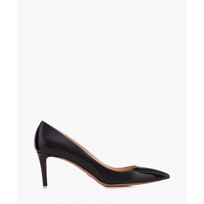 Image for Decollete black leather court heels