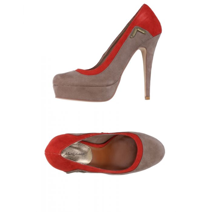 Image for Multi-coloured panelled faux-suede pumps
