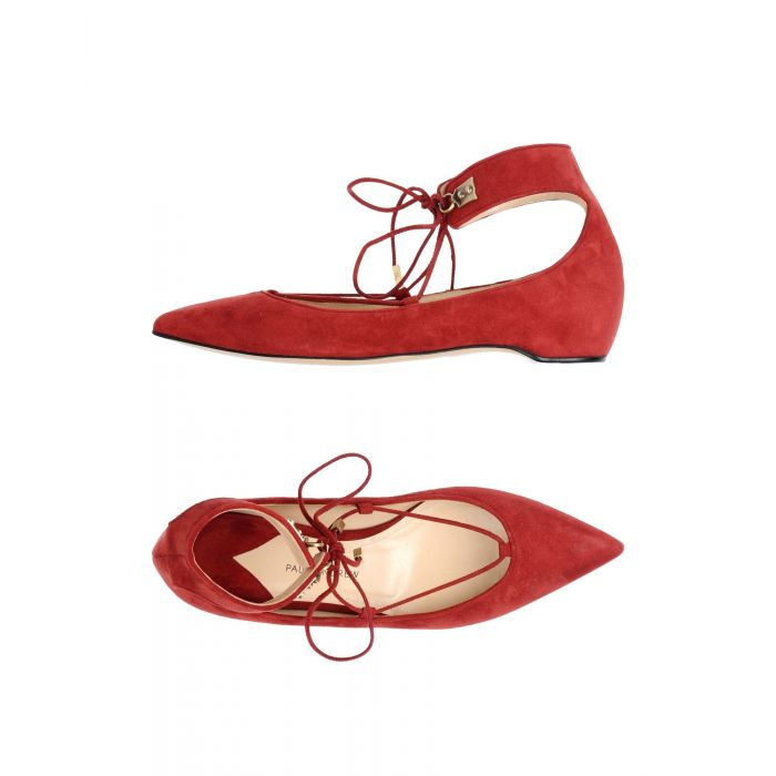 Image for Maroon leather ballet flats