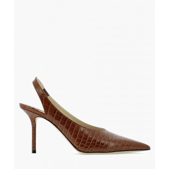 Image for Ivy 85 brown leather slingback pumps