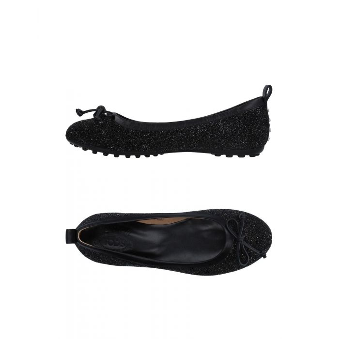 Image for Black leather ballet flats