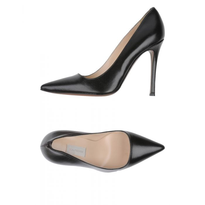Image for Maroon black leather court shoes