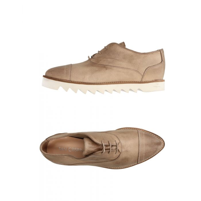 Image for Khaki leather lace-up shoes
