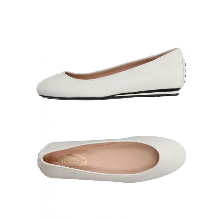 Image for White leather ballet flats