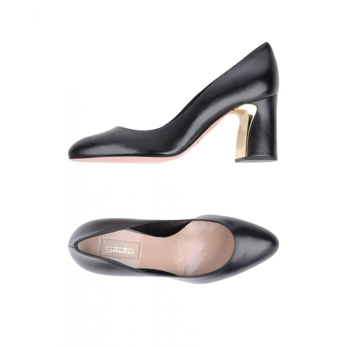Image for Black leather court shoes